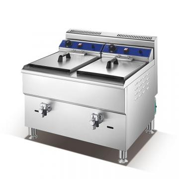 Counter Top Commercial Gas Deep Fryer with Dual Rank and Top
